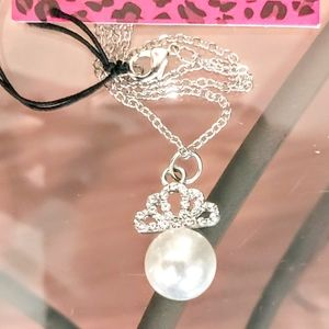 Betsey Johnson Necklace with Pearl Pendant